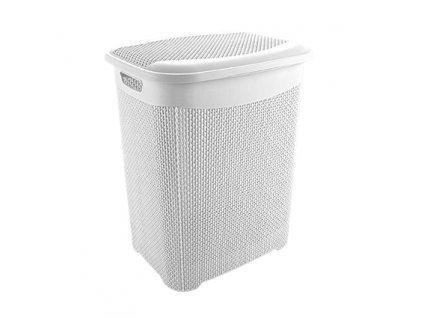 Koš špinavé prádlo 65L s víkem  DROP bílá