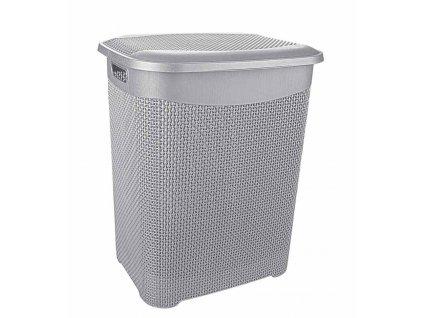 Koš špinavé prádlo 65L s víkem  DROP šedá