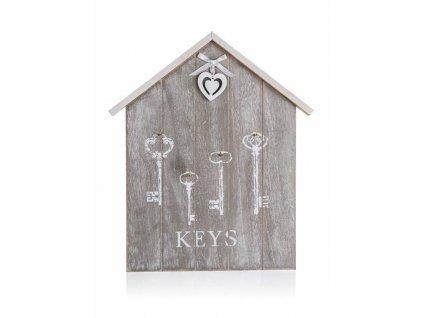 Věšák na klíče dřevo 4 háčky  HEART