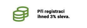 Při registraci ihned 3% sleva