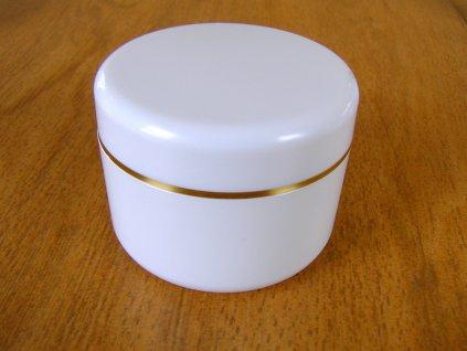 Kosmetická doza 100 ml, bílá, zlatý proužek