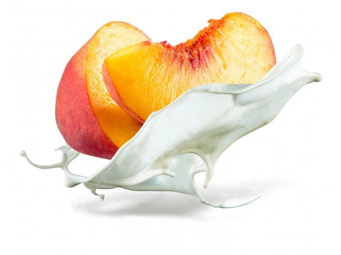 stock photo peach is falling into milk splash isolated on white background 286877876