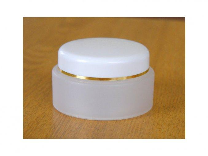 Kosmetická dóza 50 ml dvouplášťová skleněný efekt, zlatý proužek