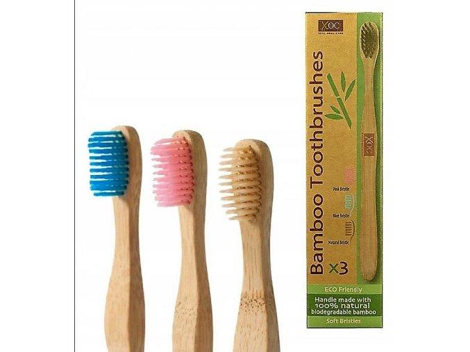 Sada bambusových zubních kartáčků 3 ks v kartonovém obalu