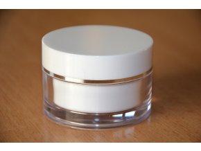 Doza Simple 50 ml bílá stříbrný proužek