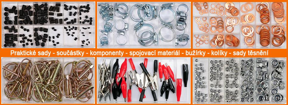 Praktické sady spojovacího materiálu, součástek, komponentů, těsnění, kolíků