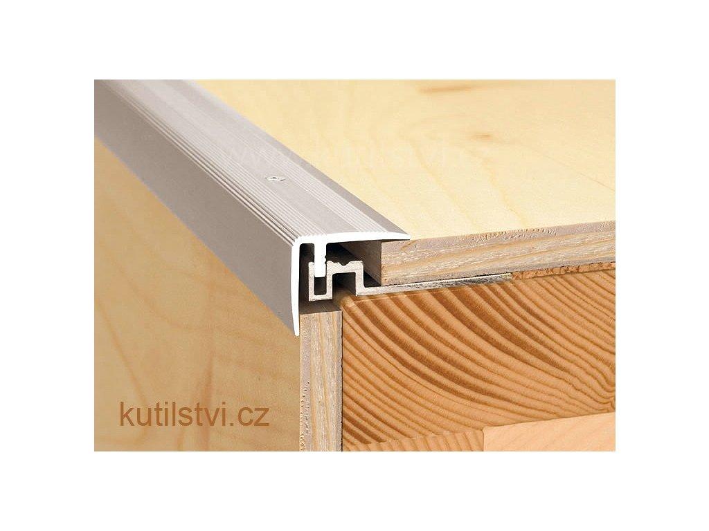 Schodová hrana se základovým profilem 38x32mm, pro parkety a plovoucí podlahy 12-18mm, doprodej