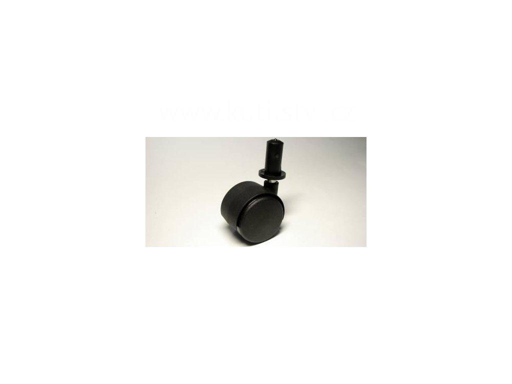 Nábytkové kolečko typu A + plast. čep 13x26mm, celoplastové, průměr 40mm, černé