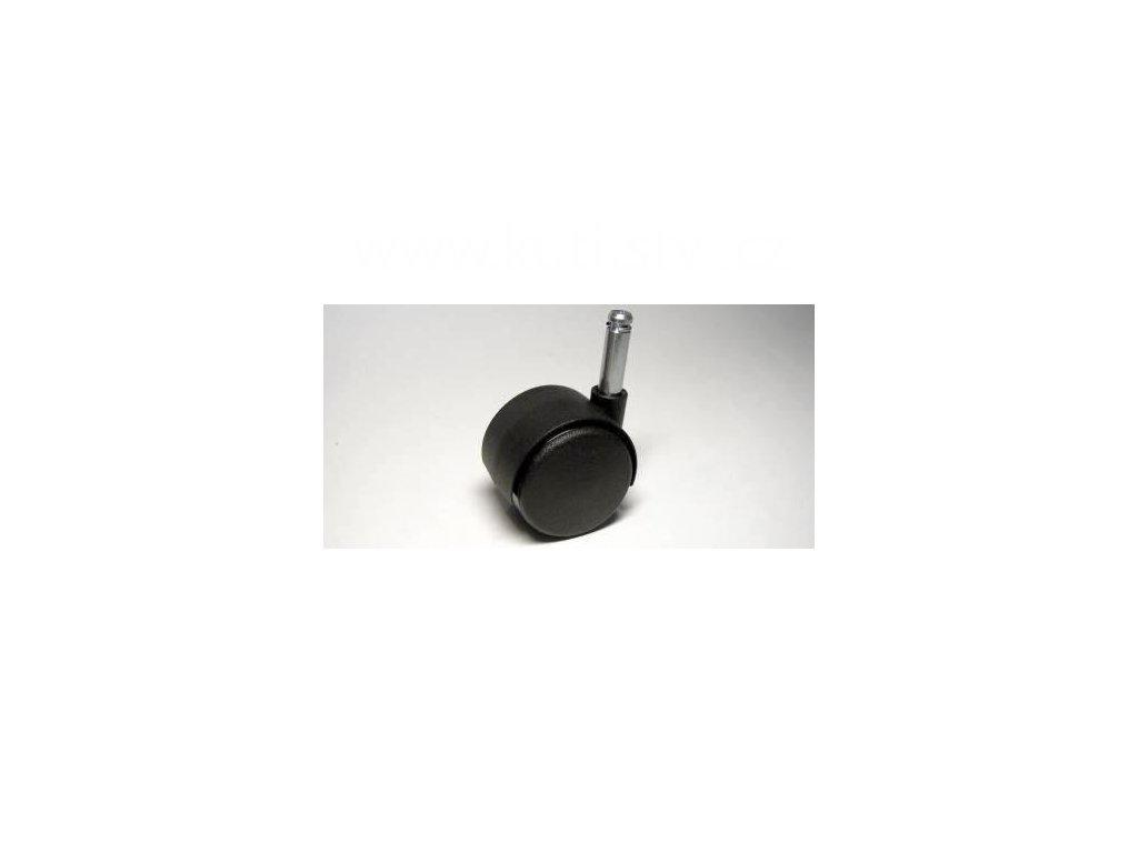Nábytkové kolečko typu A + čep 8x28mm, celoplastové, průměr 40mm, černé