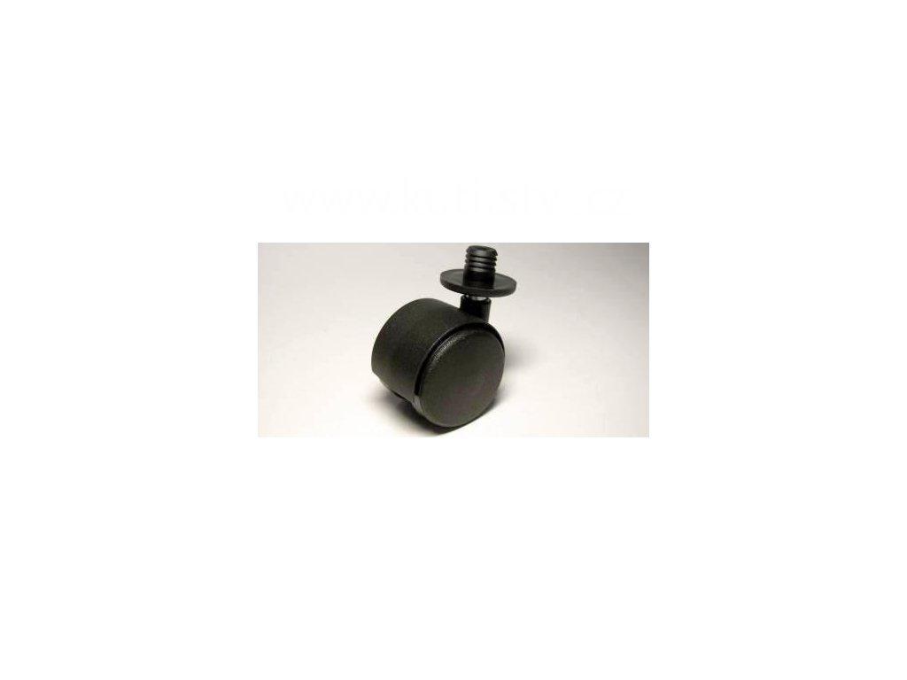 Nábytkové kolečko typu A + plastový čep 12x12mm, celoplastové, průměr 40, černé