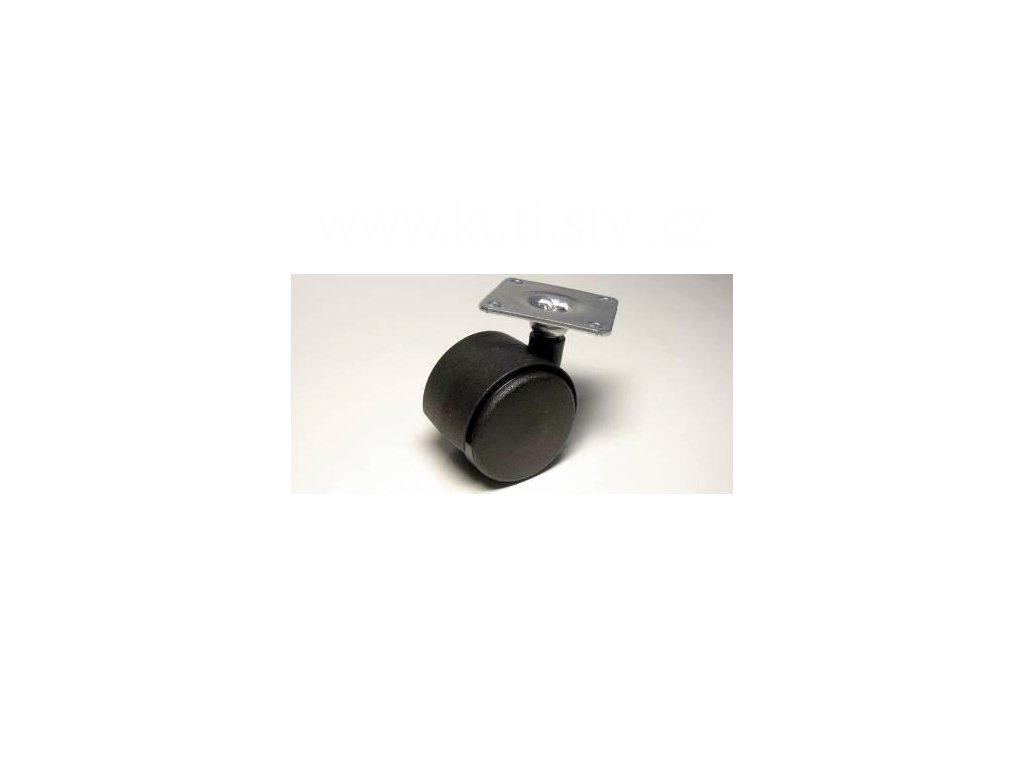Nábytkové kolečko typu A + kovová destička 42x42mm, celoplastové, pr. 40mm, černé