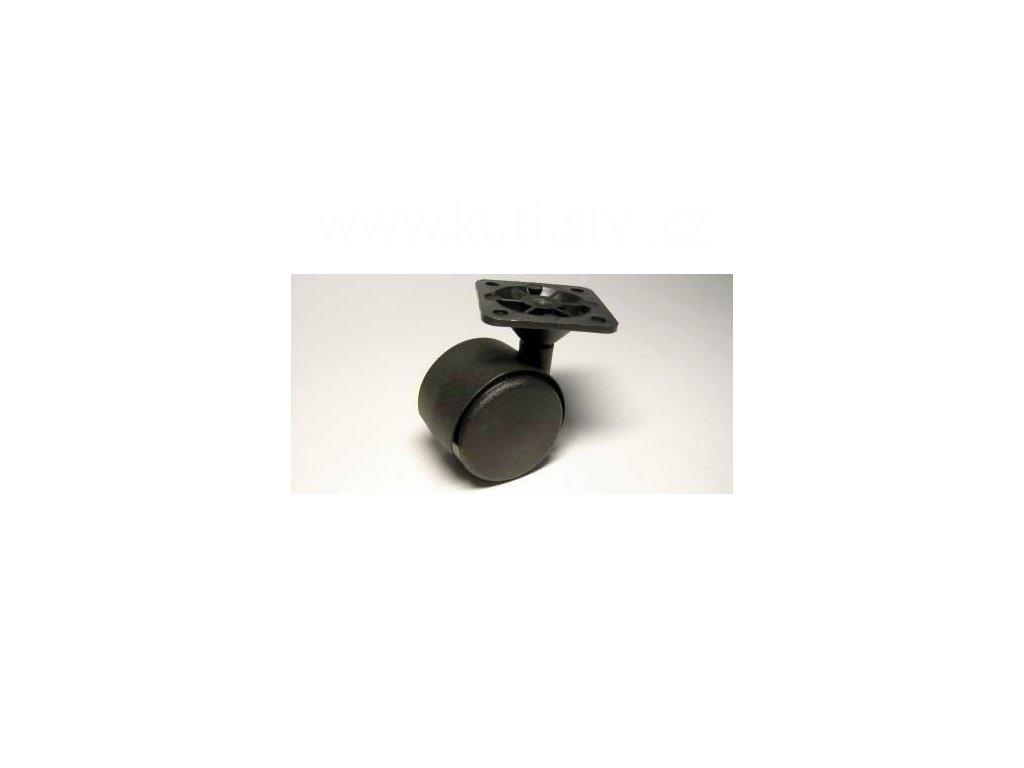 Nábytkové kolečko typu A + plast. destička 45x45mm, celoplastové, průměr 40, černé