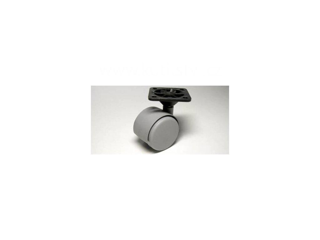 Nábytkové kolečko typu A + plast. destička 45x45cm, celoplastové, pr. 40mm, šedé
