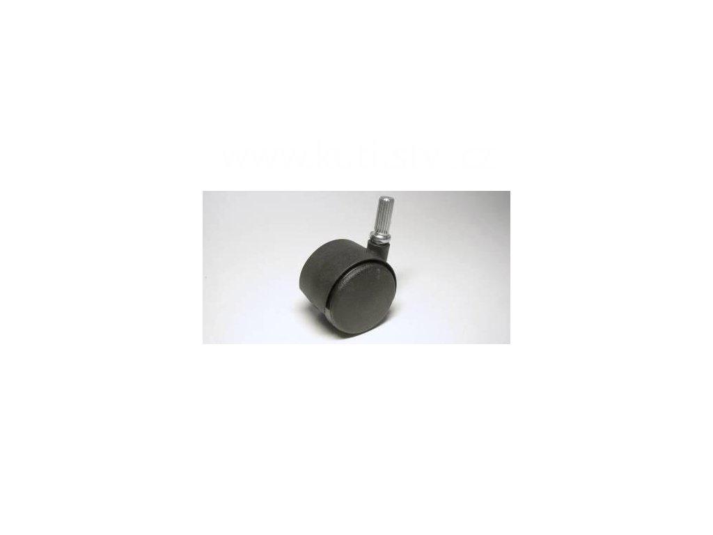 Nábytkové kolečko typu A + drážkovaný čep 8x20mm, celoplastové, pr. 40mm, černé