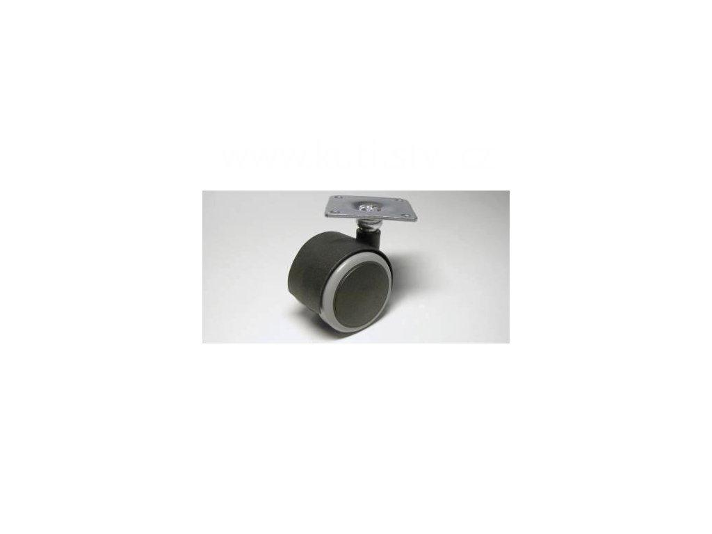 Nábytkové kolečko typu A + kovová destička 42x42mm, celoplastové, pr. 40, černé s gumou
