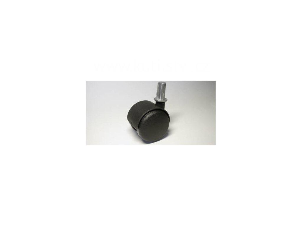 Nábytkové kolečko typu A + čep v kovovém pouzdru 12x26mm, celoplastové, pr. 50, černé