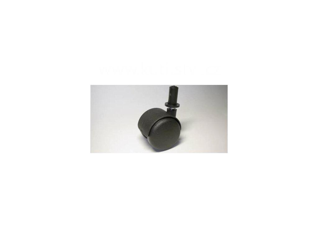 Nábytkové kolečko typu A + čep v plast. pouzdru 12x26mm, celoplastové, pr. 50, černé