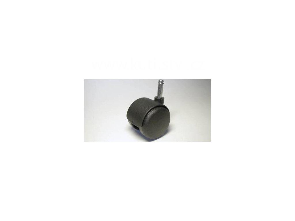 Nábytkové kolečko typu A + čep 8x28mm, celoplastové, průměr 50, černé