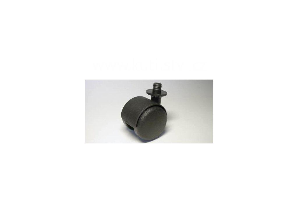 Nábytkové kolečko typu A + čep v plast. pouzdru 12,3x12mm, celoplastové, průměr 50, černé