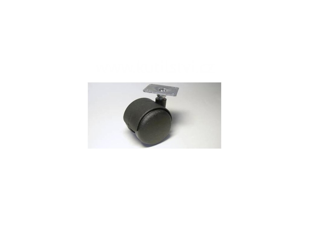 Nábytkové kolečko typu A + kovová destička 42x42mm, celoplastové, pr. 50, černé