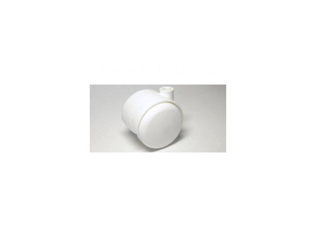 Nábytkové kolečko, čep typu A, celoplastové, průměr 50, bílé, díra 8mm
