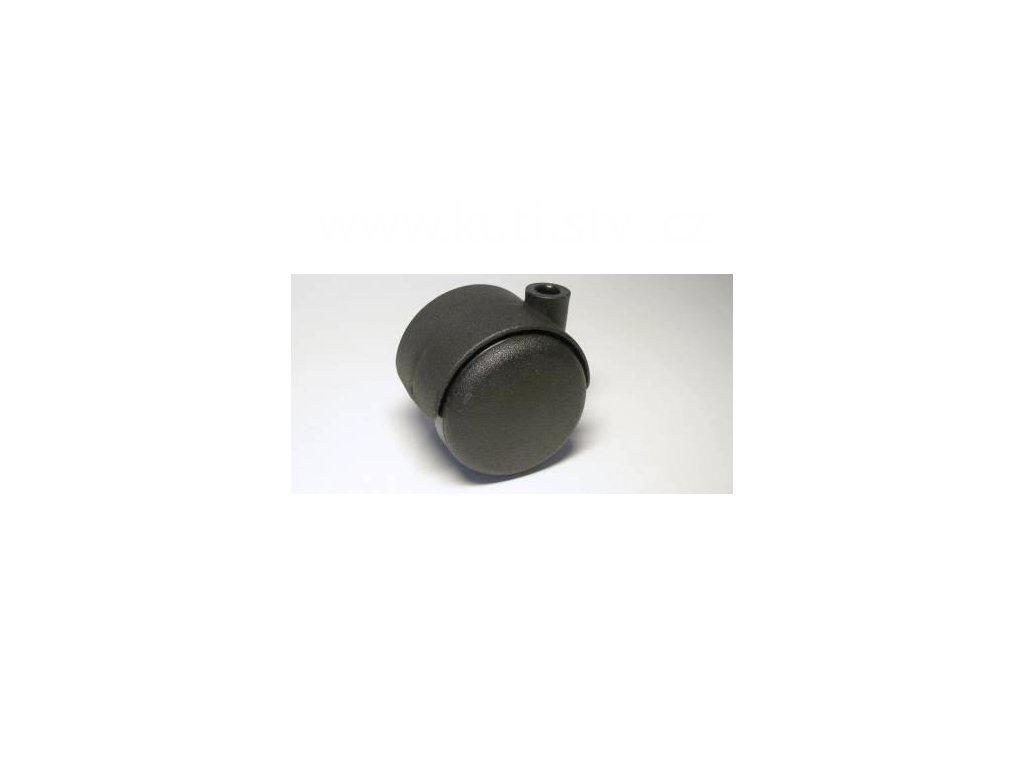 Nábytkové kolečko typu A, díra pr. 8mm, celoplastové, průměr 50, černé