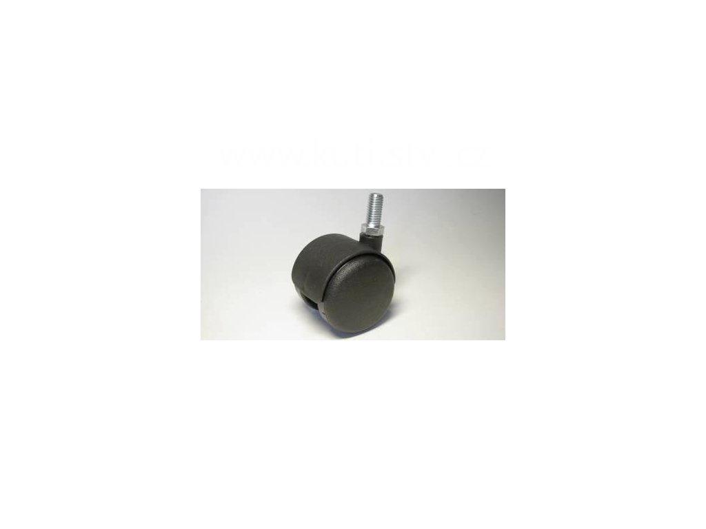 Nábytkové kolečko typu A + závit M10x20mm, celoplastové, průměr 50, černé