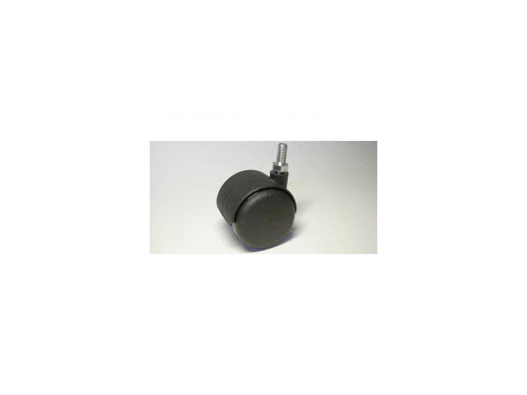 Nábytkové kolečko typu A + závit M8x16mm, celoplastové, průměr 50, černé