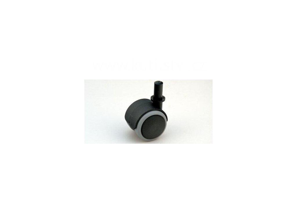 Nábytkové kolečko typu A + čeú v plast. pouzdru 13x26mm, celoplastové, pr. 50, černé s gumou