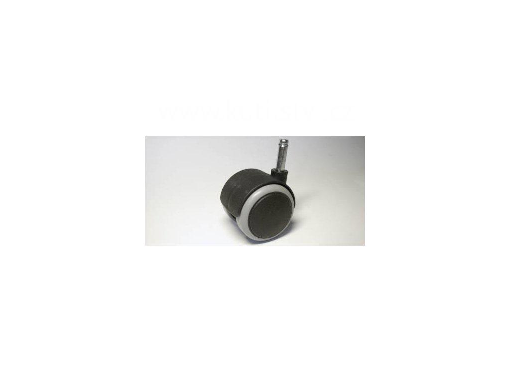 Nábytkové kolečko typu A + čep 8x28mm, celoplastové, průměr 50, černé s gumou