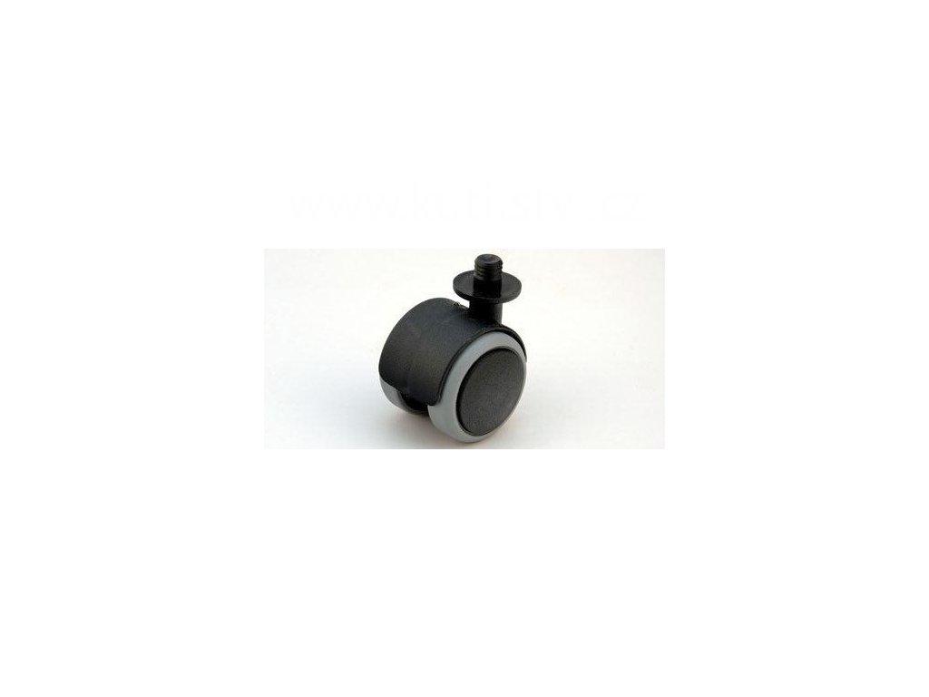 Nábytkové kolečko typu A + čep v plast. pouzdru 12,3x12mm, celoplastové, pr. 50, černé s gumou