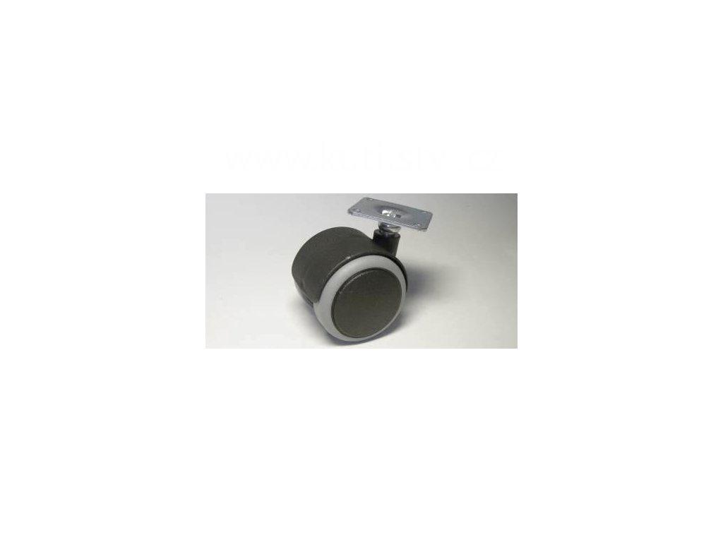 Nábytkové kolečko typu A + kovová destička 42x42mm, celoplastové, pr. 50, černé s gumou