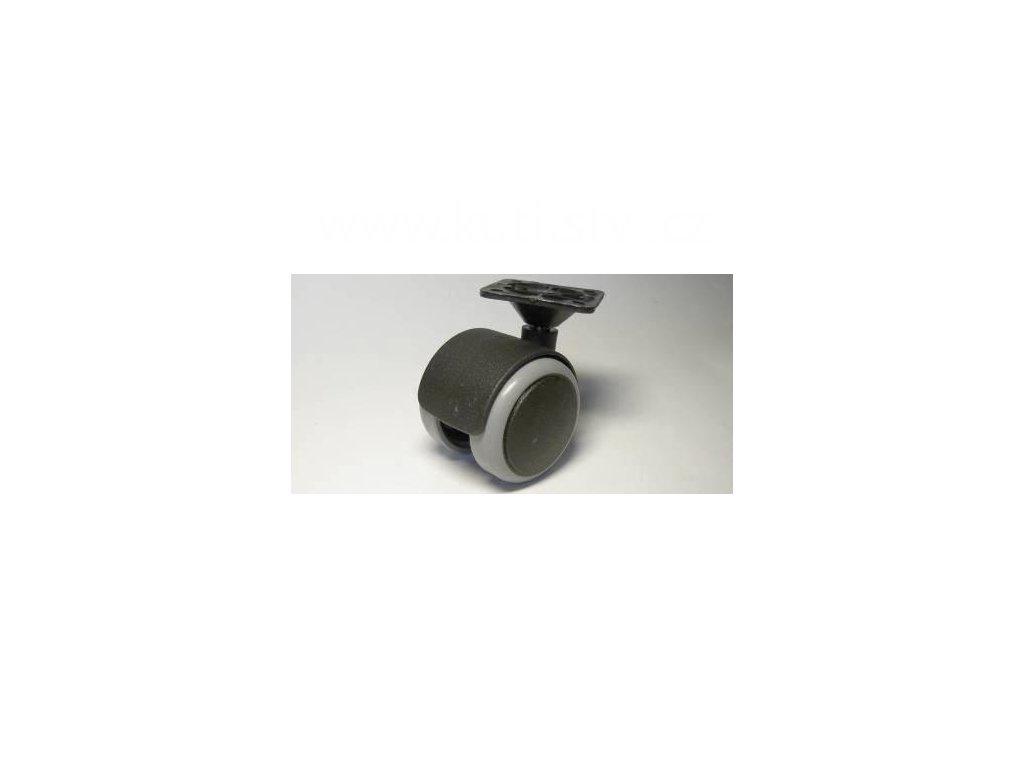 Nábytkové kolečko typu A + plastová destička 45x45mm, celoplastové, pr. 50, černé s gumou
