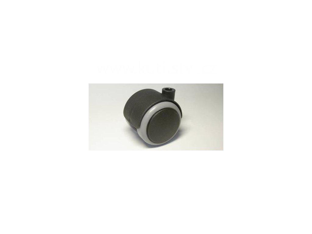 Nábytkové kolečko typu A, celoplastové, průměr 50, černé s gumou, díra pr. 8mm