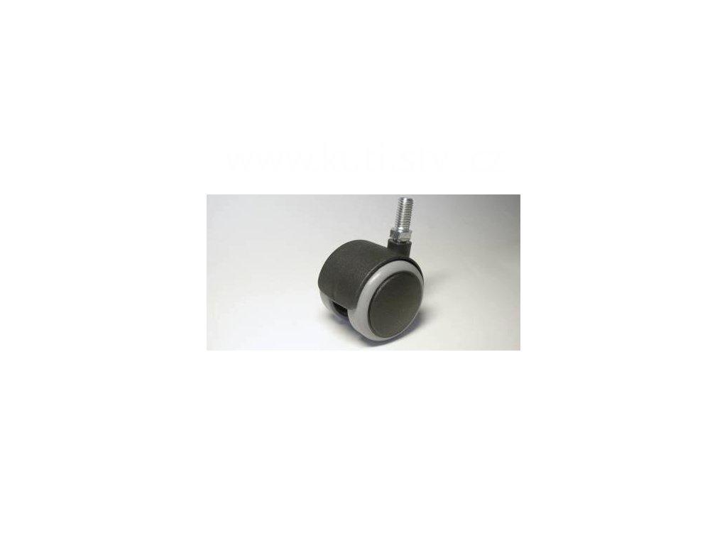 Nábytkové kolečko typu A + závit M10x20mm, celoplastové, průměr 50, černé s gumou