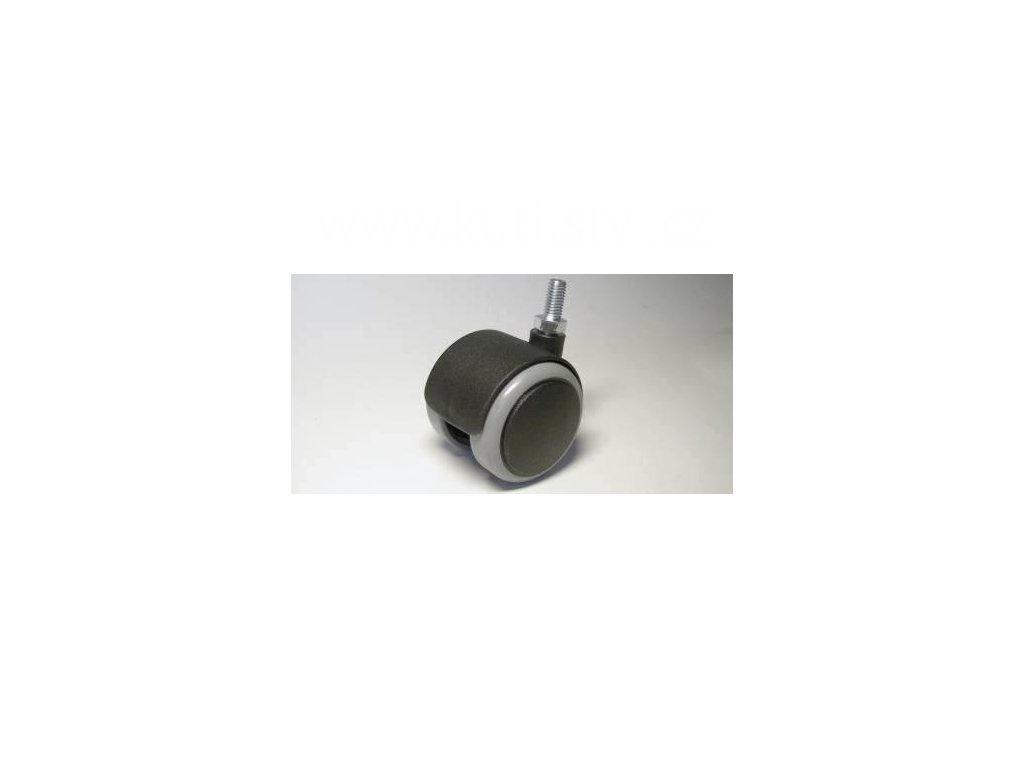 Nábytkové kolečko typu A + závit M8x16mm, celoplastové, průměr 50, černé s gumou
