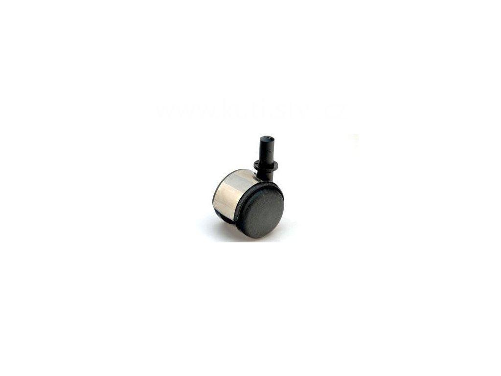Nábytkové kolečko typu A + čep v plast. pouzdru 12x26mm, celoplastové, pr. 50, stříbrné
