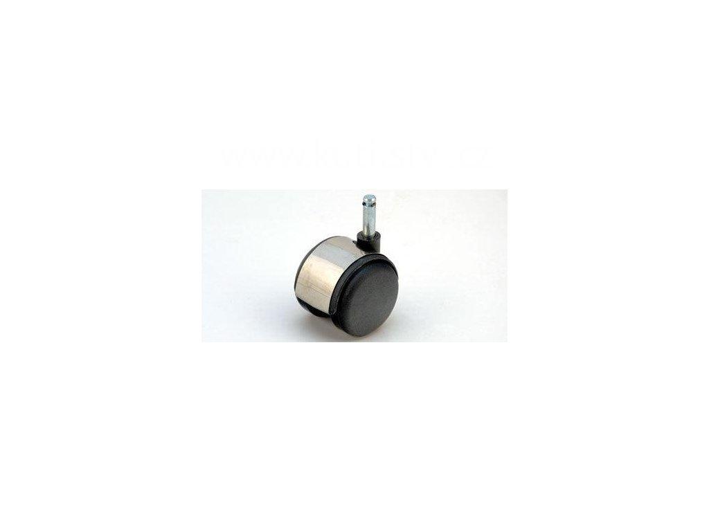 Nábytkové kolečko typu A + čep 8x28mm, celoplastové, pr. 50, stříbrné