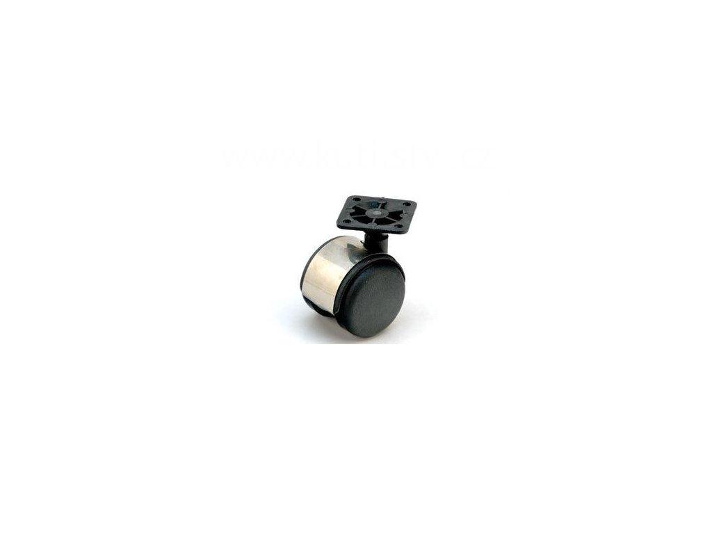 Nábytkové kolečko typu A + plastová destička 45x45mm, celoplastové, pr. 50, stříbrné