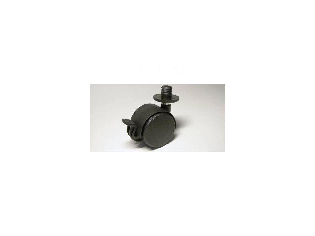 Nábytkové kolečko typu BA + plastový čep 12x12mm, celoplastové, pr. 40, černé, brzda