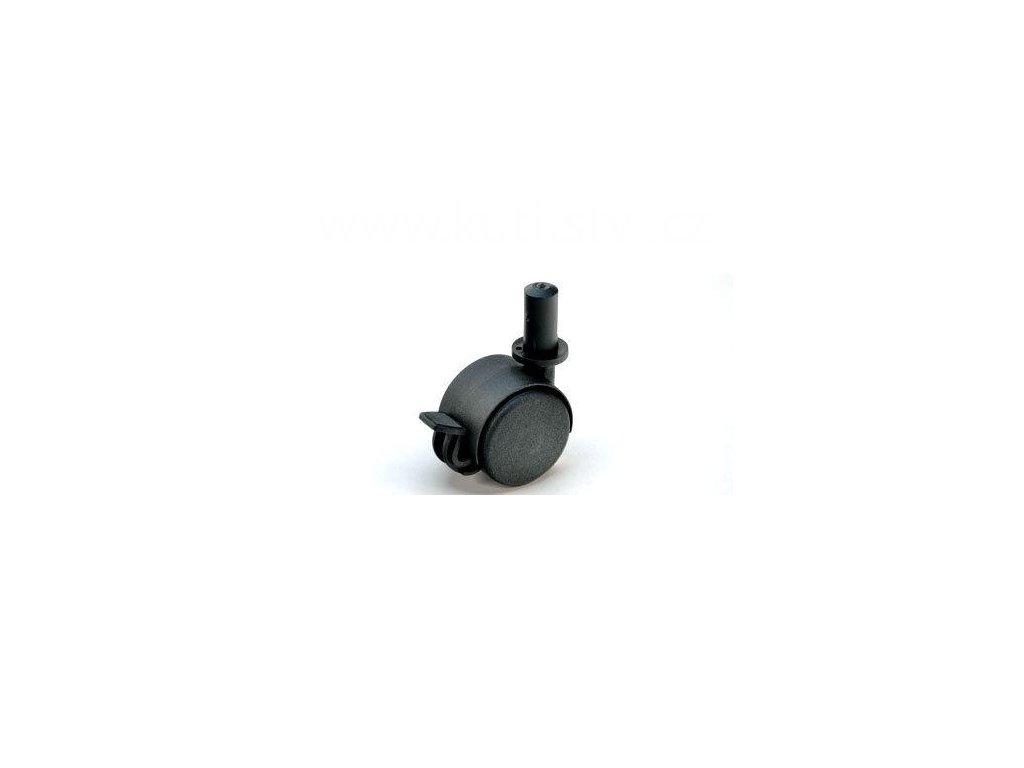 Nábytkové kolečko typu BA + plast. čep 13x26mm, celoplastové, pr. 40, černé, brzda