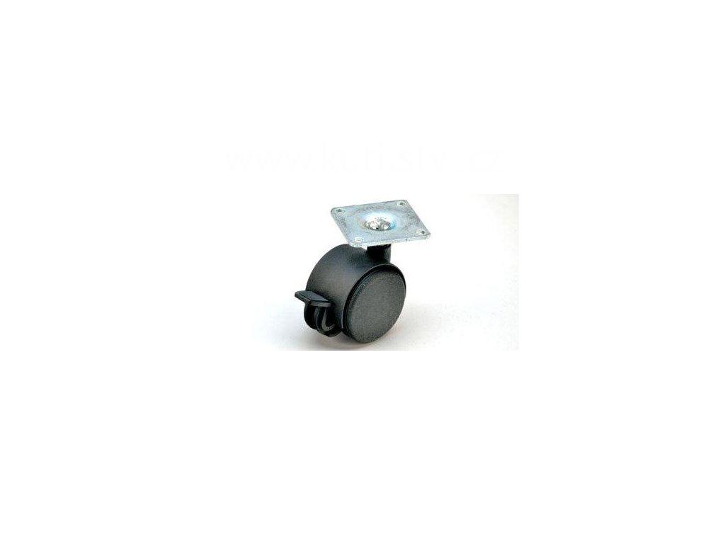 Nábytkové kolečko typu BA + kovová destička 42x42mm, celoplastové, pr. 40, černé, brzda