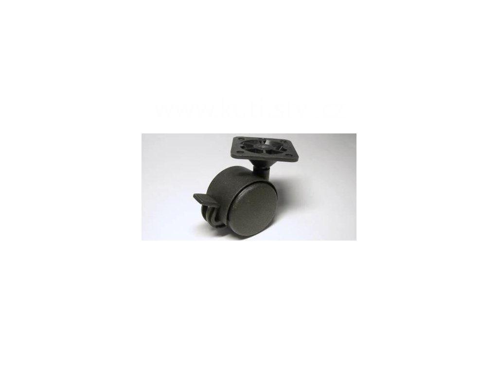 Nábytkové kolečko typu BA + plastová destička 45x45mm, celoplastové, pr. 40, černé, brzda