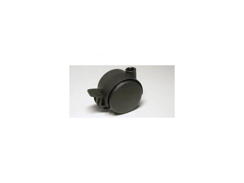 Nábytkové kolečko typu BA, celoplastové, průměr 40, černé, brzda