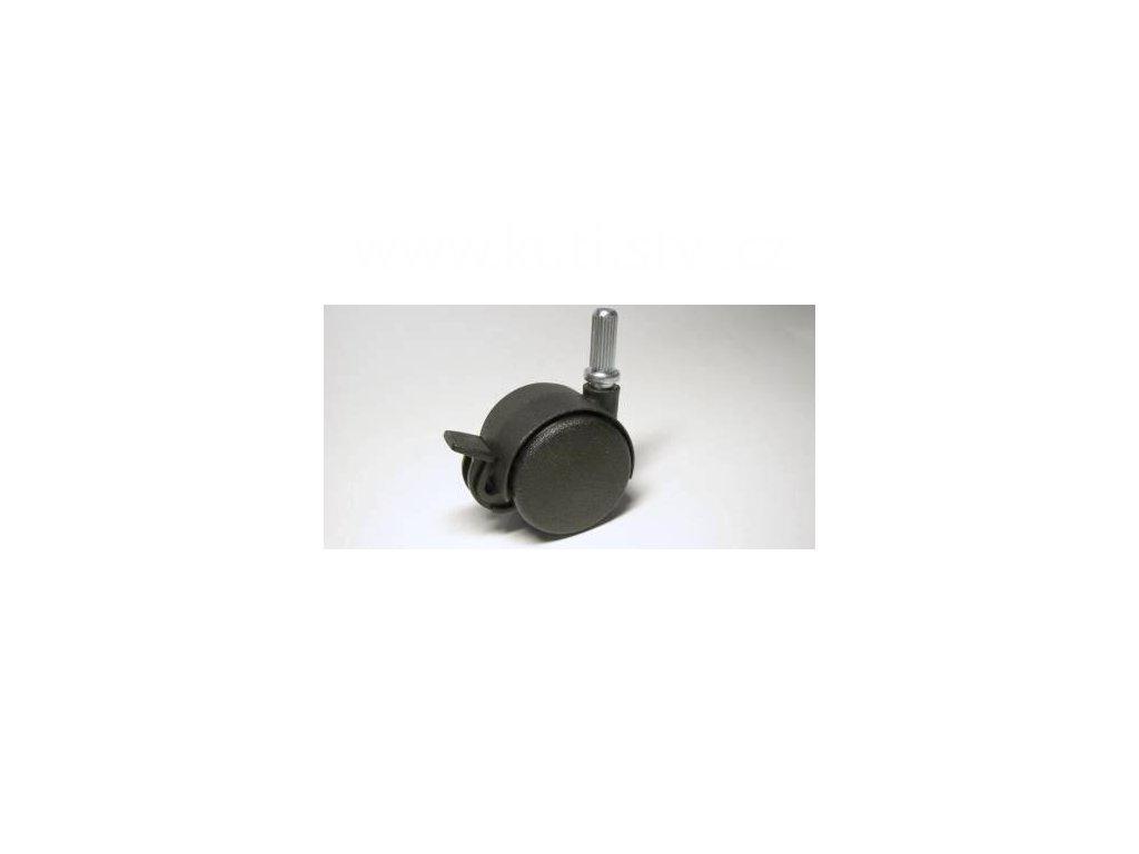 Nábytkové kolečko typu BA + drážkovaný čep 8x20mm, celoplastové, pr. 40, černé, brzda