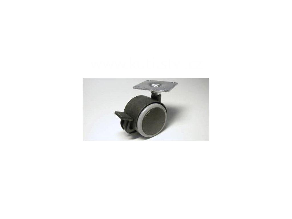 Nábytkové kolečko typu BA + kovová destička 42x42mm, celoplastové, pr. 40, černé s gumou, brzda