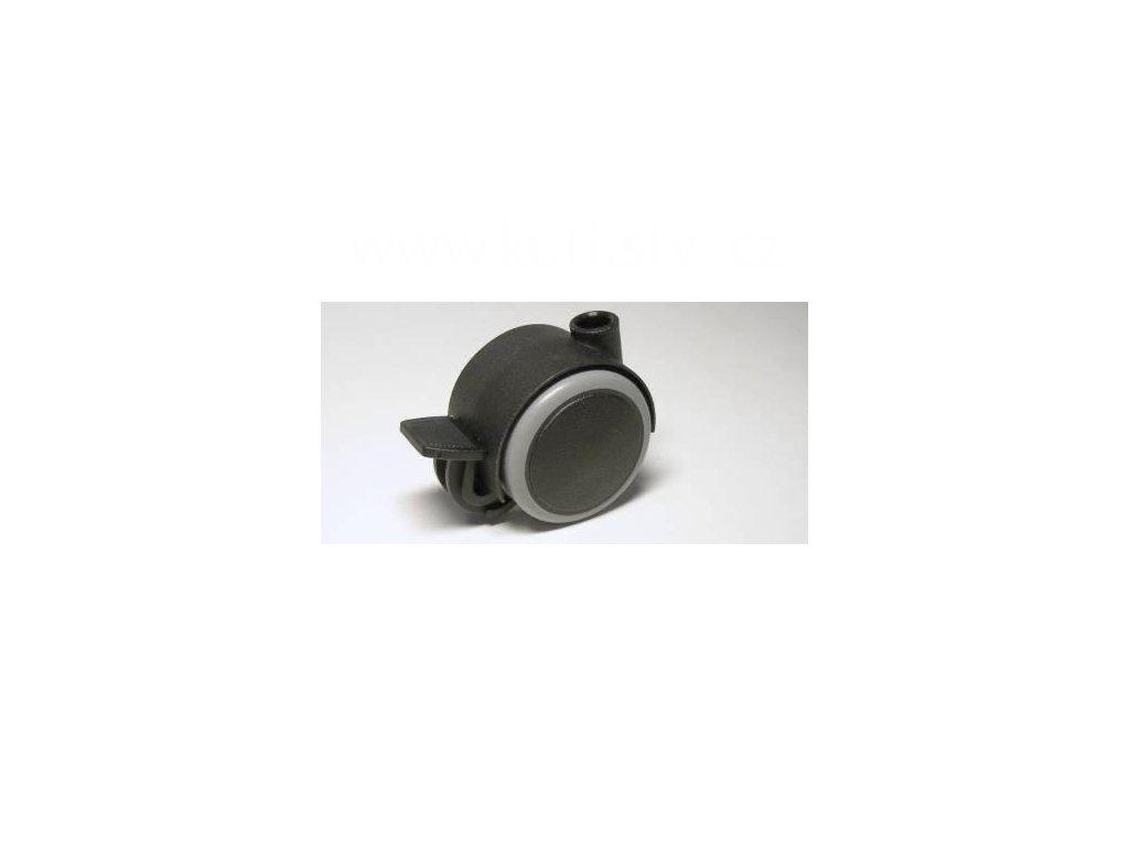 Nábytkové kolečko typu BA, celoplastové, průměr 40, černé s gumou, brzda