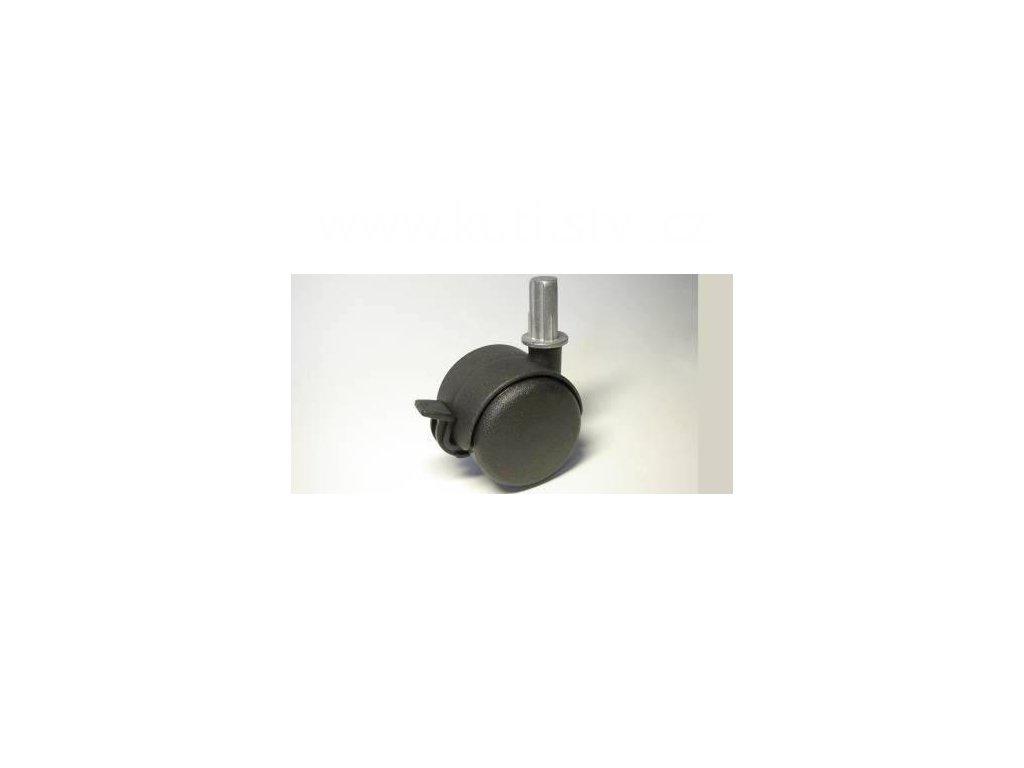 Nábytkové kolečko typu BA + čep v kovovém pouzdru 12x26mm, celoplastové, pr. 50, černé, brzda