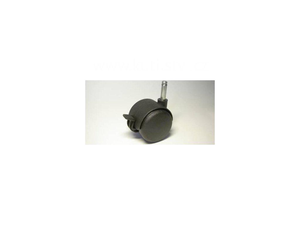 Nábytkové kolečko typu BA + čep 8x28mm, celoplastové, průměr 50, černé, brzda