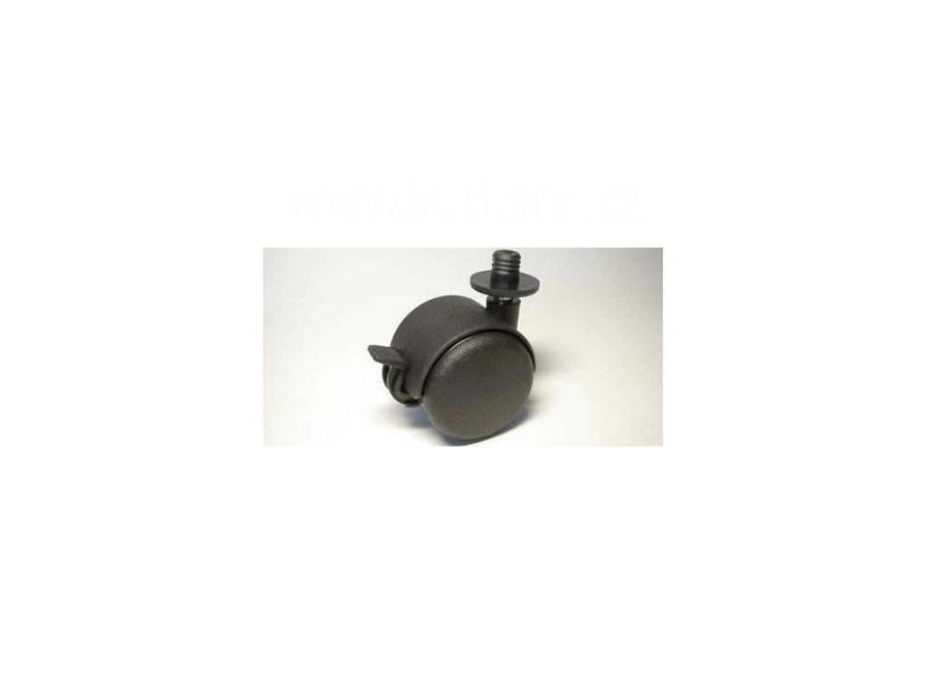 Nábytkové kolečko typu BA + čep v plast. pouzdře 12,3x12mm, celoplast., pr. 50, černé, brzda